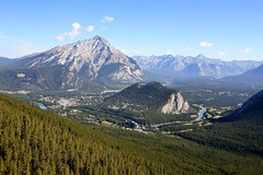 Banff from Sulphur Mountain (Liz Faulkner) Tags: road blue summer sky canada mountains nature water field clouds rockies golden waterfall amazing cabin scenery jasper skies britishcolumbia turquoise scenic wideangle canoe glacier alberta bow banff gondola wilderness transcanadahighway lakelouise fairmont revelstoke jaspernationalpark athabascafalls rogerspass sulphurmountain athabasca stewartcanyon crazycreek lakeminnewanka morainelake columbiaicefield icefieldsparkway bowlake vermillionlakes athabascaglacier 1635mm takakkawfalls crowfootglacier johnsonlake maralake mountnorquay threevalleygap spiraltunnels endlesschain diffanglephoto constellationlake copyrightelizabethfaulknerdiffanglephotolrps