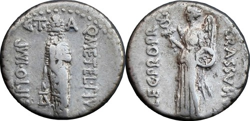 460/4 #0232-38 SCIPIO IMP CRASSVS Lion headed genius of Africa Victory Denarius