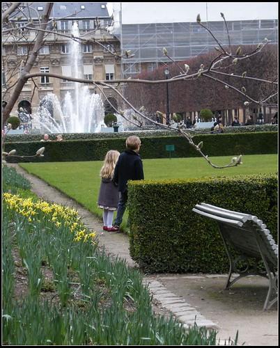 pretty boy and girl at Palais-Royal