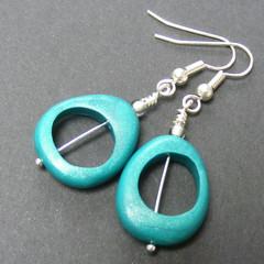 Orbital V Earrings (Pips Jewellery Creation) Tags: uk leaves silver beads leaf handmade teal unique jewellery polymerclay earrings unusual jewelery seedbeads canework artbeads pcagoe pipsjewellery