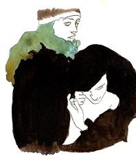 agora juntos. (lidiaB*) Tags: watercolor drawing together juntos aquarela nankin