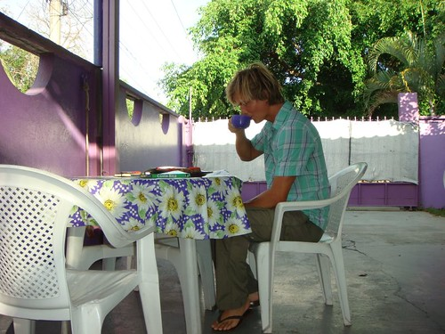 Brekkie at the Purple Hostel in Davíd, Panama...