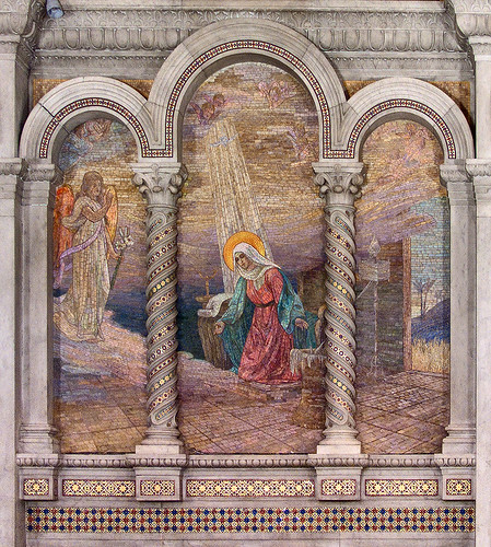 Cathedral Basilica of Saint Louis, in Saint Louis, Missouri - Our Lady's Chapel - wall mosaic of Annunciation