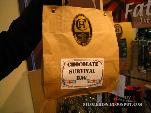 chocolate survival bag at chocolate factory