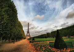 Paris Perspectives (` Toshio ') Tags: autumn trees sky mars paris france tree tower fall field grass leaves clouds forest garden french europe path empty echo eiffeltower lawn perspective eiffel hdr europeanunion toshio roard highdynamicresolution superaplus aplusphoto platinumheartaward