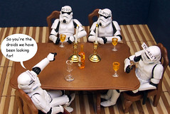 The after dinner party game. (waihey) Tags: game dinner glasses starwars candles wine stormtroopers r2d2 vader cheat c3po guesswho tk421 droids