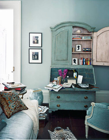 Blue living room: Martha Stewart 'Grisaille' + painted antique secretary