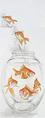 too crowded.jpg (liz-wetmore) Tags: fish watercolor goldfish drawing mixedmedia fishbowl crowded