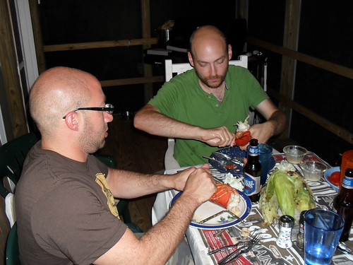 Marc and Jason, splitting a lobster