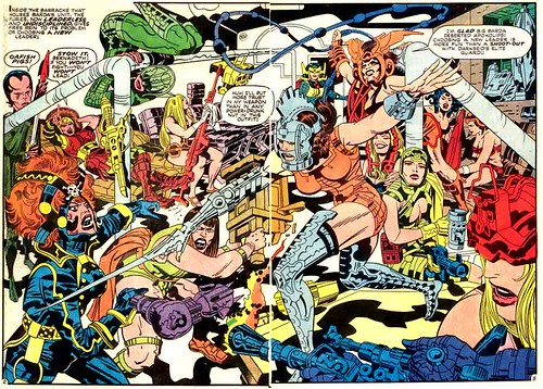Two-page spread by Jack Kirby from Mister Miracle #8