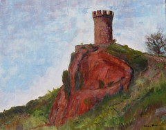 Castle Craig - painting (Pilgrim on this road - Bill Revill) Tags: park tower castle painting acrylic connecticut craig hubbard castlecraig meriden hubbardpark revill gallery53 billrevill sandmangallery