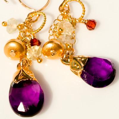 Amethyst Bells with Lemon Topaz, Garnet and Gold Vermeil Handmade Earrings
