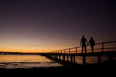Two People (AussieDingo) Tags: sunset water jetty nsw tuggerahlakes centralcoastnsw