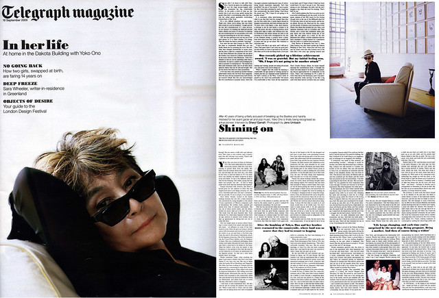 Yoko Ono - In Her Life / Shining On (Telegraph Magazine 19 Sept 2009)