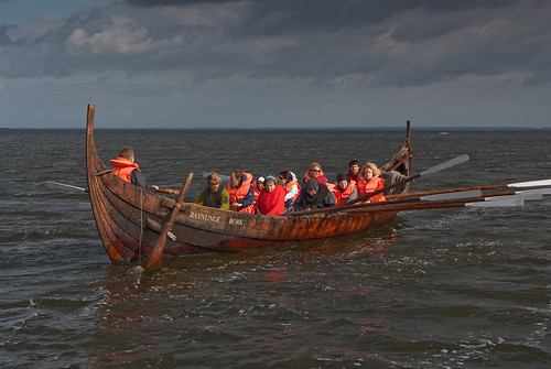 Rowing into the storm, the Viking way (apart from those orange lifejackets)