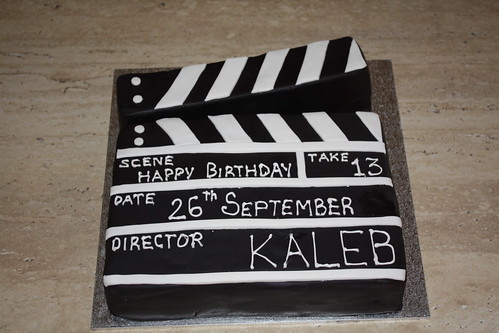 Movie clapper board cake
