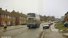 Remembrance Road, Willenhall, Coventry, 1997 (Lady Wulfrun) Tags: 1997 coventry wintersday greyday 1990s twm mcw wintry 6926 wmt wmpte 6thjanuary1997 wda926t willenhallcoventry 21busroute