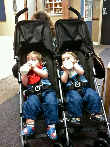 Adam and Alex waiting at the Pharmacy