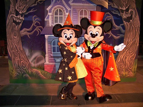 Witch Minnie and Vampire Mickey at Mickey's Trick-Or-Treat Party