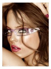 Shannan Click (CATTYROY) Tags: woman glasses donna model eyes cs2 blu ps occhi american americana click brunette armani occhiali shannan mora colorize modella azzurri
