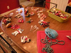 Ornaments sorted, waiting to be wrapped