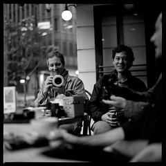 Ringflash Jim (gullevek) Tags: camera blackandwhite 6x6 japan iso100 tokyo fuji bokeh brunch 日本 東京 銀座 カメラ breakfastclub モノクロ 中央区 fujineopanacros100 epsongtx900 jimoconnell bronicaectl geo:lon=13976157 zenzanonmc80mmf24 geo:lat=3567184