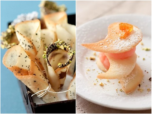 Sugar Tuiles And Tuile Leaves With Grapefruit Sorbet