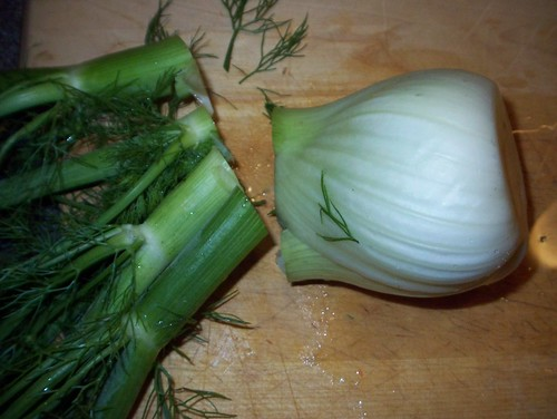 prepping a fennel bulb