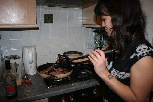 Lizzie cooking up her guilty dish
