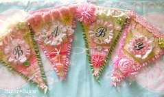 BABY (Sugar*Sugar) Tags: pink flowers decorations baby girl glitter altered vintage scrapbooking ruffles ballerina sweet crafts banner garland gree babyshower bunting millinery pennants shabbychic sugarsugar papercrafting