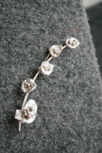 Silver flower branch brooch