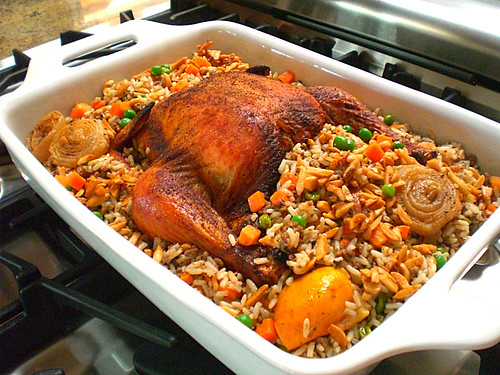 Baked vegetable chicken and rice recipe