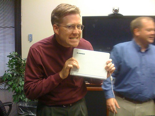 Holding James Deaton's new Lenovo Netbook