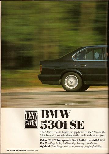 BMW 530i SE Road Test 1988 (Set)