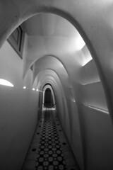 Arched Hallway (JTContinental) Tags: barcelona light shadow urban blackandwhite detail architecture tile spain arch hallway gaudi casabatllo bigmomma challengeyouwinner thechallengefactory jtcontinental herowinner ultraherowinner thepinnaclehof ultraherochallenge tphofweek147