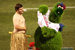 """Phanatic Says """"Cover it up!"""" (Harpo42) Tags: shirtless game silly philadelphia students gut team funny baseball fat guys belly hide phillies tribute ballpark citizensbankpark mlb cincinnatireds skit nationalleague phanatic grassskirts shanevictorino cabrinicollege july8th2009"""