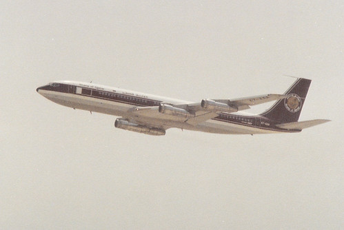 Emir's jet... State of Qatar Amiri Flight Boeing 707 Amiri One A7-AAA climbing out from DOHA circa 1980's - Please see comments!!!!