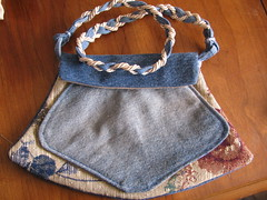 UP-Cycled denim purse (marriggold) Tags: purse denim recycle handbag reuse redesign repurpose upcycle fabricflower recraft ecocraft posketbook denimflower
