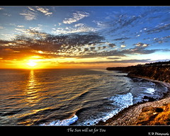 the sun will set for you (kennymuz) Tags: ocean blue sunset shadow sky orange sun beach set clouds for day you beginning will goodbye kennymuz