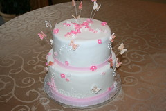 Baptism cake (irresistibledesserts) Tags: birthday girl shower blossoms butterflies baptism christening communion flowrs