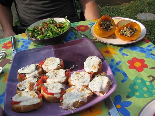 a local meal - veggies from the garden, US bread, wisconsin mozzarella