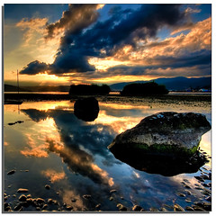 Clouds Clouds (TheJbot) Tags: sunset sky lake mountains water japan clouds rocks colorful stones distillery nagano hdr jbot suwa reftection bestofmothernature