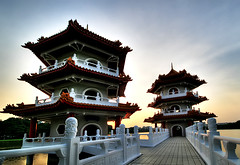 Chinese Garden (` Toshio ') Tags: china city sky tourism water architecture night buildings reflections river asian lights harbor pagoda singapore asia nightshot chinese perspective multipleexposure walkway rails bluehour chinesegarden hdr pagodas toshio photomatix 3exposures threeexposures mywinners highdynamicresolution