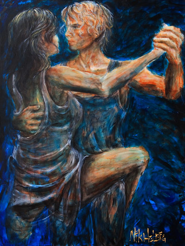 tango painting of lovers