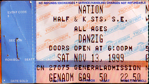 19991113 - Samhain & Danzig - ticket stub - Nation