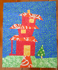 Around the Block - Helen's House (badskirt) Tags: house bright bee quiltblock aroundtheblock wonkyhouse