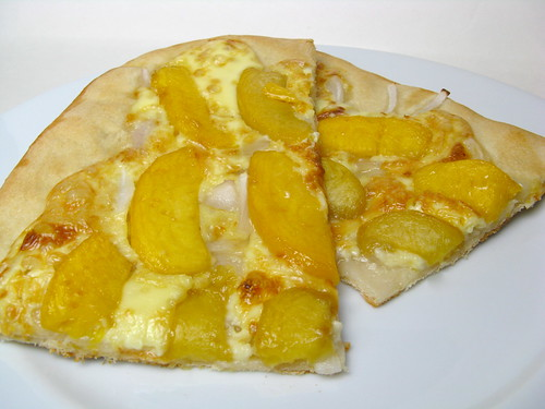 Bourbon-Poached Peaches & Brie Pizza