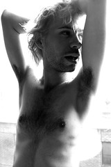 brightan in window (digerati9) Tags: boy shadow shirtless portrait hairy man male guy face fashion skinny person glamour emotion artistic expression chest posing stomach sensual blonde overexposed blinds dreamy torso desaturated thin emotional intimate abs sixpack malenude abdominals ef24105mmf4lisusm winidow brightan