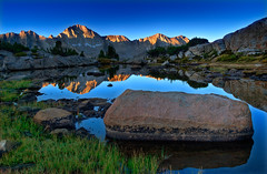 Dusy Basin Sunrise (David Shield Photography) Tags: california camping mountains color reflection nature digital sunrise landscape hiking scenic trail backpacking backcountry wilderness sierras exploration tarn easternsierras kingscanyonnationalpark coth dusybasin rangeoflight colorphotoaward superaplus aplusphoto scenesofaserenenature worldtrekker platinumpeaceaward