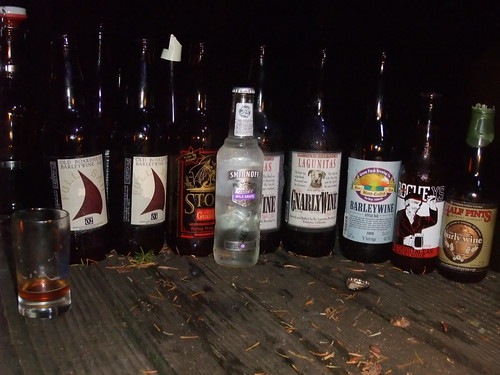 A flight of some fantastic barleywines, with an intruder out in front. Seriously, who brought that Smirnoff Ice?